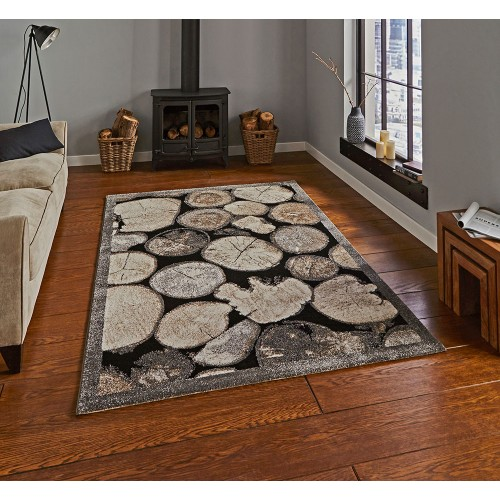 Log Wood Rug Cream/Grey