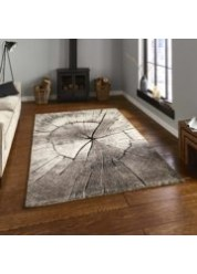 Log Wood Rug Beige