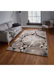 Log Wood Rug Beige/Black